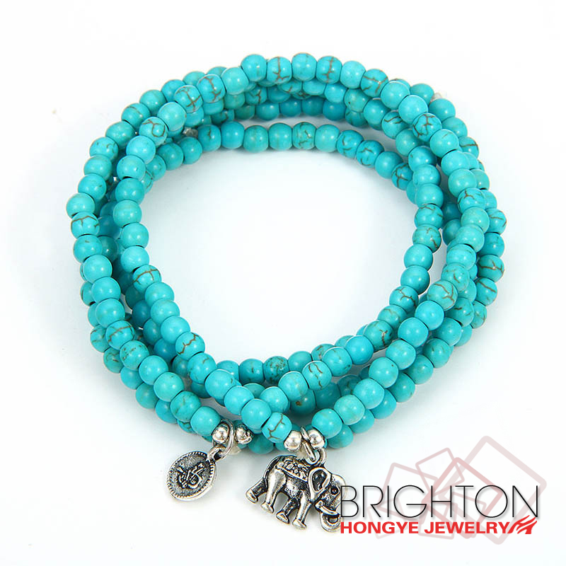 BT5-2706-7650 Semi-precious Resin Stone Turquoise Magnetic Beaded Stretch Bracelet