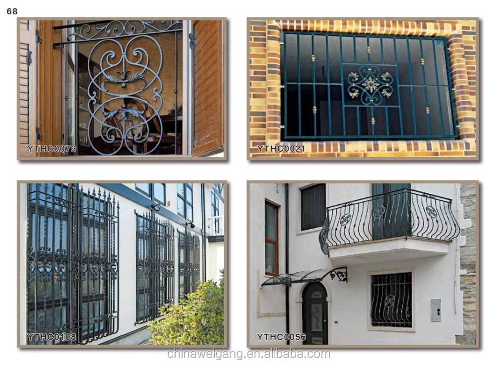 Protective decorative wrought iron window guard buy for Window protector designs