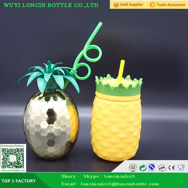 Plastic Acrylic Pineapple Straw <strong>Cup</strong> For Juice,Pineapple <strong>Cup</strong> For Water Drink,Gold Foil Pineapple <strong>Cup</strong> For Party