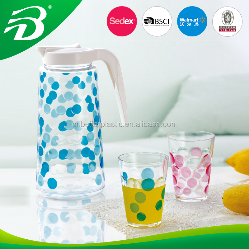 Plastic water cup and juice pot large acrylic pitcher with cups