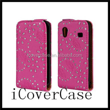for samsung galaxy ace s5830 mobile phone Diamond flip leather case cover with 3 colors