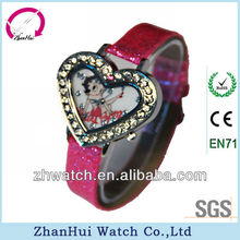 2012 diamonds lovely heart bezel cute cartoon branded watches for girls pu leather