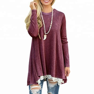 Lace bottom long sleeve tunics Women T-Shirt Summer Womens Patchwork Casual Loose Long Sleeve Round Neck Oversize Lace Shirt
