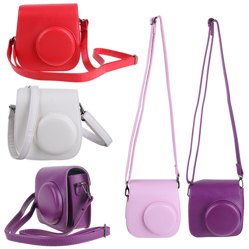 Leather Camera Strap Bag Case Cover Pouch Protector For Polaroid Photo Camera For Fuji Instax Mini 8