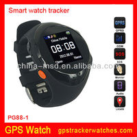 2013 new arrived GSM quad band GPS tracker watch phone PG88 support Real-time tracking, positon, SOS and phone