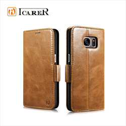 ICARER Silmarillion Genuine Leather Flip Wallet Case with Stand for Samsung Galaxy S7