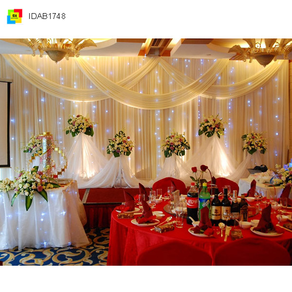 IDA White ice Silk Curtain for wedding decoration backdrop curtain (IDAB1748)