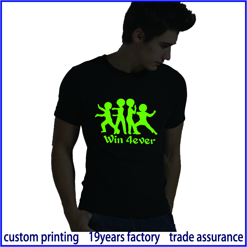 Silk Screen Printing Rock Chang T Shirt Glow In The Dark
