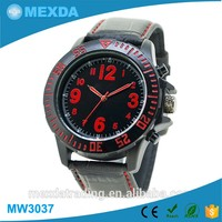Men sport style water resistant red index leather bracelet watch