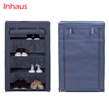 Portable Folding Wall Mounted Non-woven Fabric Dustproof 4 Tiers 12 pair Shoe Rack with Cloth Cover