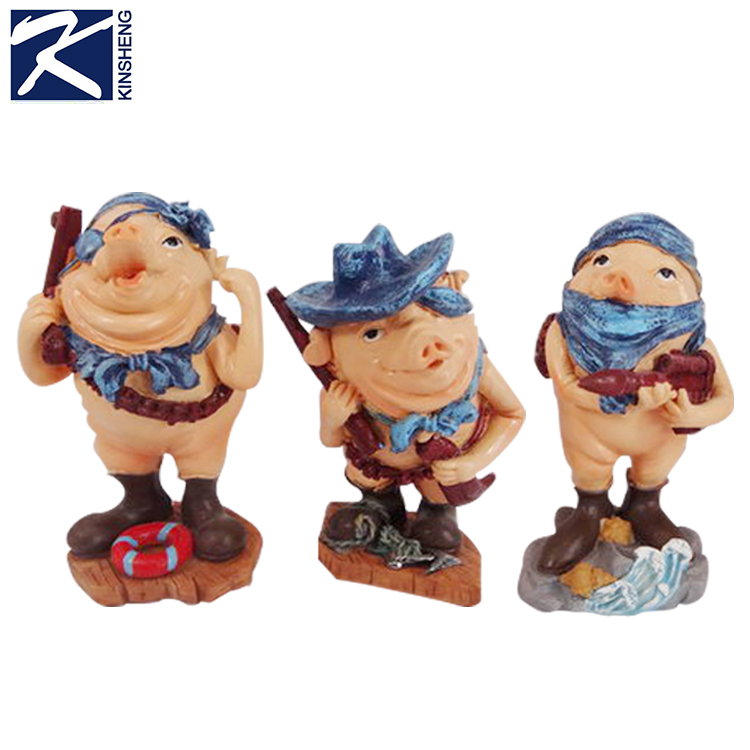 Kinsheng Wholesale pirate pig shaped resin innovative crafts gifts crafts