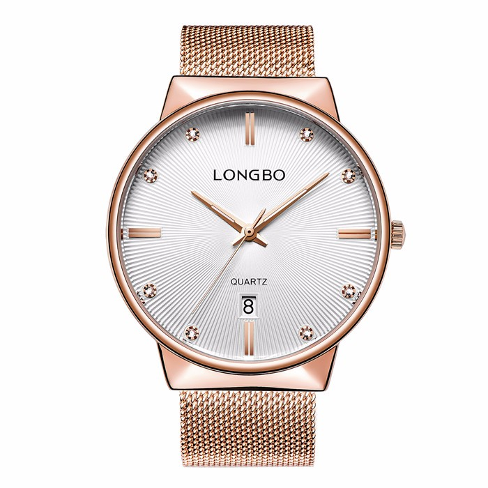 LongBo mesh strap sapphire crystal glass watch Domed and anti-reflective