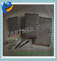 Personal High Quality Flat Metal Binder Clip PU Leather Notebook