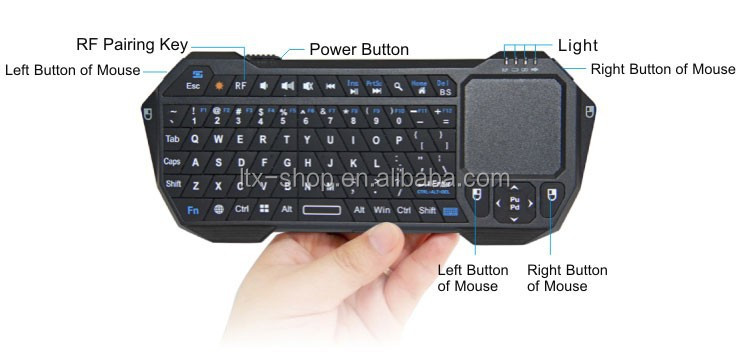 Wireless Bluetooth Mini Keyboard with Built-in Touchpad air mouse remote control for Android and iOS
