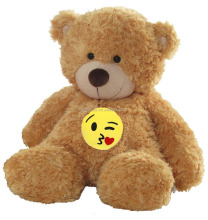 Newest design cheap emoji teddy bear plush toy custom cute soft stuffed plush sitting teddy bear