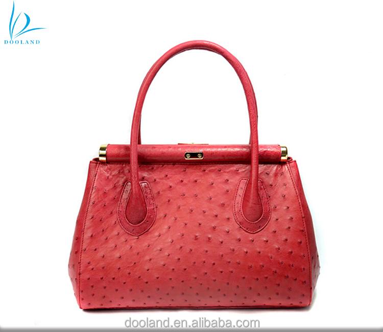 Gorgeous Snake Skin Print Bag Quality Over Quantity Price: Elegant Design Women Genuine Ostrich Leather Bag Real
