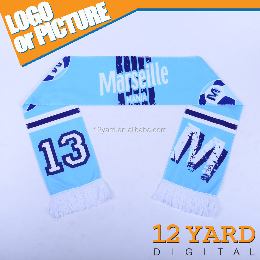 2016 China Marketing Olympic Marseille soccer/Football club Championship fans polyester Fleece stretchy blue Scarf