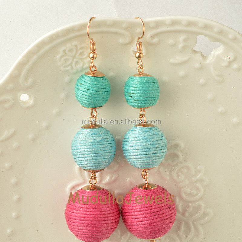 E17062201 Wholesale Charming Fashion Colorful Les Bonbons Earrings ,Silk Thread Ball Earrings Shimmer Crispin Drops Earrings