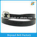 "Women's 1/2"" (13 mm) Skinny Black Crocodile Embossed Leather Dress Belt"