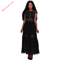 Wholesale Women Clothing Black Lace Hollow Out Long women party dress