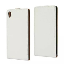 Low price simple antigravity white blank leather cover mobile cell phone case for sony c5 ultra