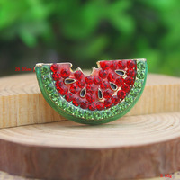 P168-534 fashion gold enamel green and red rhinestone crystal watermelon brooch pins