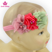 Three Flowers Shabby Fabric With Nylon Band, Chiffon Flower Head Bow For Kids