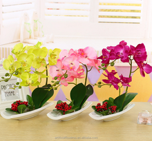 Wholesale artificial latex butterfly orchid bonsai for home decoration