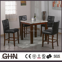 China supplier faux marble top wooden leather bar table and chair set modern furniture
