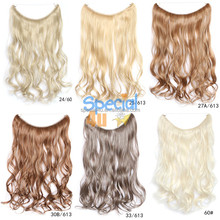 SPEC-439 20 inch Secret Fish Line Hair Extensions Flip in Curly Wavy Hidden Hair Extension Cheap Fish line hair Weft