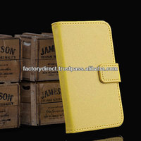 New Leather Flip Case Cover Pouch Bumper Wallet for iPhone 4 4G 4S Yellow Best Quality