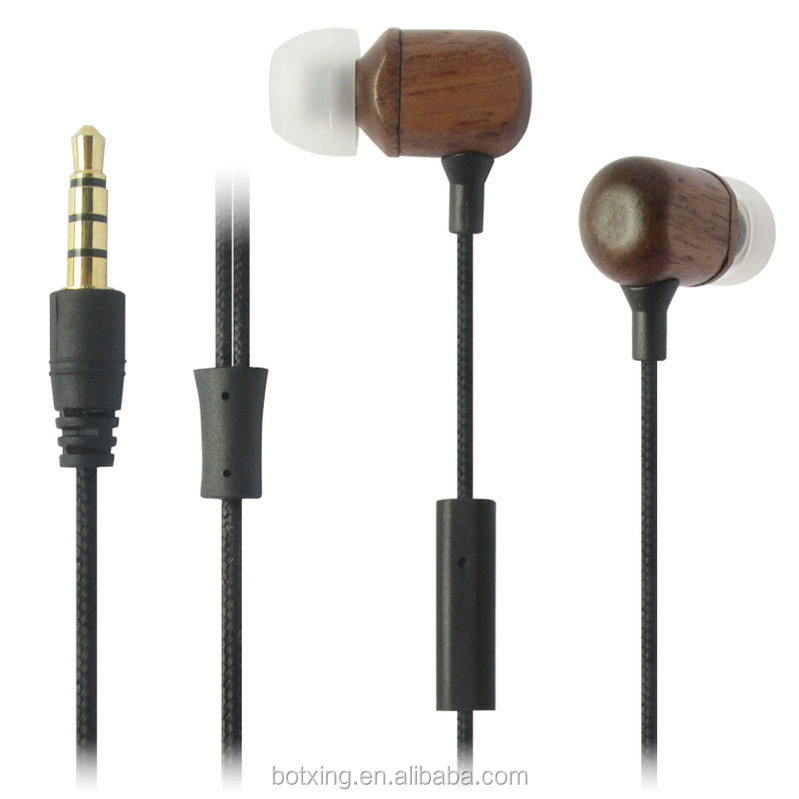High quality in ear wooden earphone with low price used for mobile phone