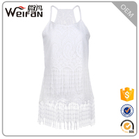 New Fashionable White Color Strip Fancy Lace Tank Tops For Women