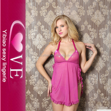 Cheap Women lingerie Slit Pink Girls Halter Babydoll Sexy Hot Baby Doll
