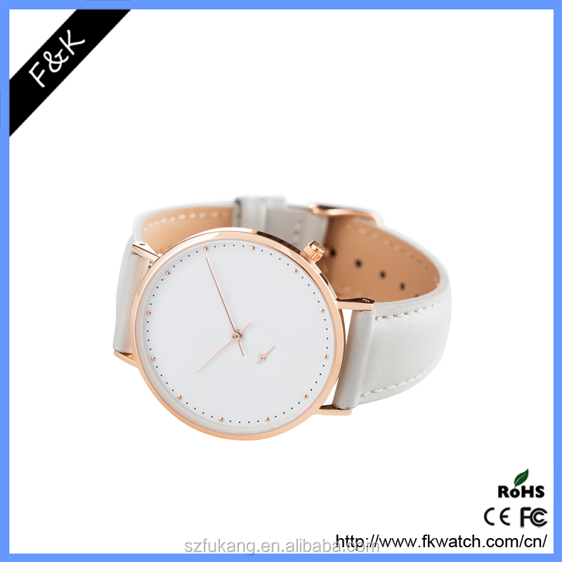 Ladies elegant leather western wrist alloy metal 3 hands white watch