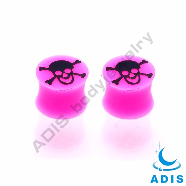 Girl cute yellow smile face silicon flesh tunnel ear plugs wholesale