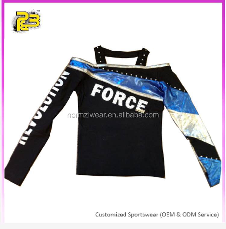 hot sale metallic long sleeve cheer uniform top and skirt for all star girls