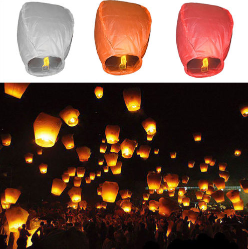 Chinese resistant paper Lanterns Sky Fly Candle Lamp for Wish Wedding Party