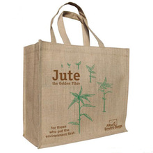 Reinforced Printed Handle Shopping Tote Jute Bag factory price Germany quality