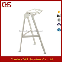 white metal coating legs high back bar stool