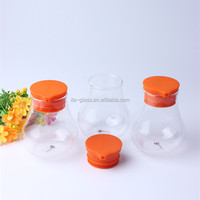 Unique shape factory wholesale OEM branded reusable dinner set transparent glass oil bottle container oil and vinegar bottle set