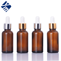 Eco-friendly cosmetic glass packaging 10ML amber printed glass cosmetic essential oil bottle with glass pipette