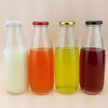 500ml/16oz empty round glass bulk milk bottle with color printing metal lids made in xuzhou