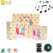 Musical cartoon paper gift bags and boxes With Custom sound chip and logo