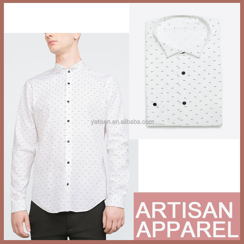 Men's spring fashion cotton white shirt men's boutique dress shirt with bow tie printing button closure shirts