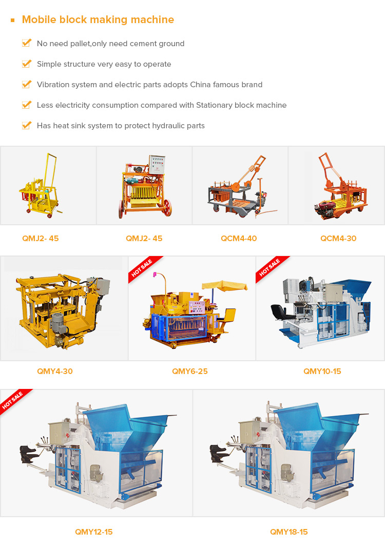 automatic mobile laying hollow cement fly ash concrete brick block maker making machine for sale