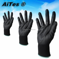 PU 508 working gloves,pu coated gloves,safety gloves, black and white