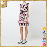 Fancy custom design cap sleeve black white red blend polka dots embroidery women dress