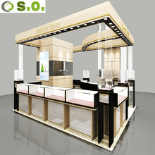 Professional manufacturer design elegant wood glass showcase used jewelry kiosk