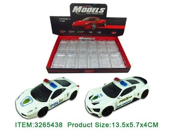 1:32 Pull Back Die Cast Police Car W/ B, Light & Alarm Sound 12pcs/Display Box